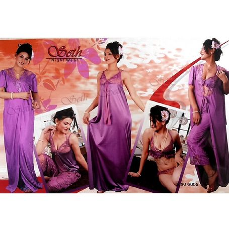 6 piece nighty - Premium Honeymoon Set - JKDELSETH- 6P- 6005, purple