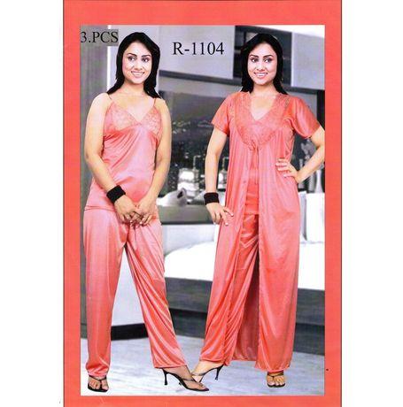 3 Piece Eco Night Gown cum Night Suit - JK3P-R-1104, wine red