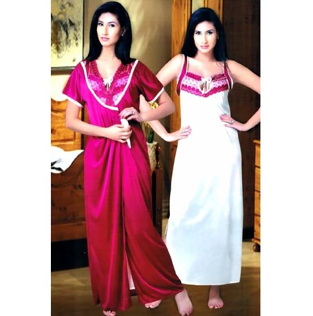 2 Piece Ultra Romantic super soft luxury Nighty - JKHNS-2P-004, catalog color pink