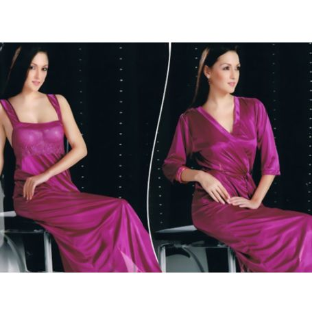 2 Piece Bridal Nighty - Sensual Indian Nighty - JKNHNS - 2894, catalog purple