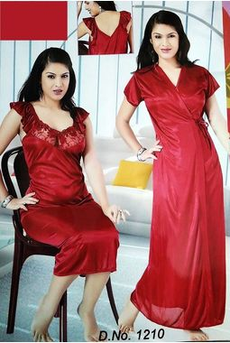 2 piece premium nighty homemaker style frilled - JKSETH-2P-1210, red, free size  32-36  inch, one piece inner nighty and one piece outer gown