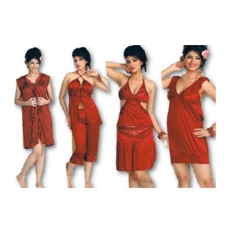 6 Piece Love Nighty - Short top Mini gown capri - JKHNS - 6P- 2929, wine red
