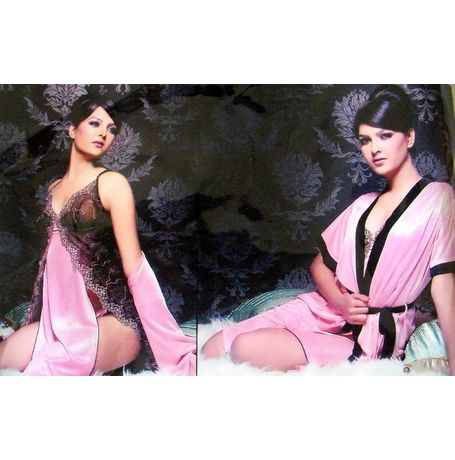 3 Piece Exclusive Honeymoon Robe nighty - Premium Romantic gift Set - JKDEL-ROBE-3P - 399, catalog color
