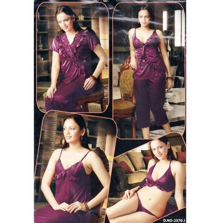 6 piece Nighty - Bra Panty Capri top overcoat - women sleepwear - JKHNS - 6P - 2570