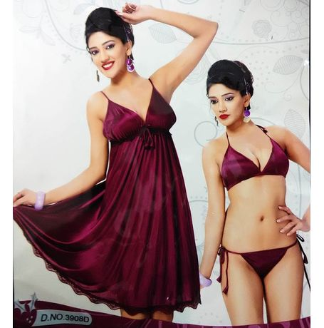 3 piece Babydoll - Lovely Laces and frills - JKNAV-3P-3908, wine