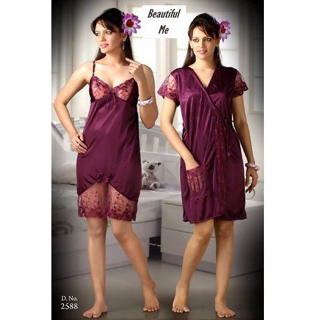 2 piece Romantic Exclusive nighty - women sleepwear - JKNHNS - 2588, wine red love color