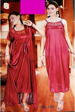 2 piece nighty with transparent lace front - JKSETH-2P-1205, ranipink, free size  32-36  inch, nighty with overcoat gown