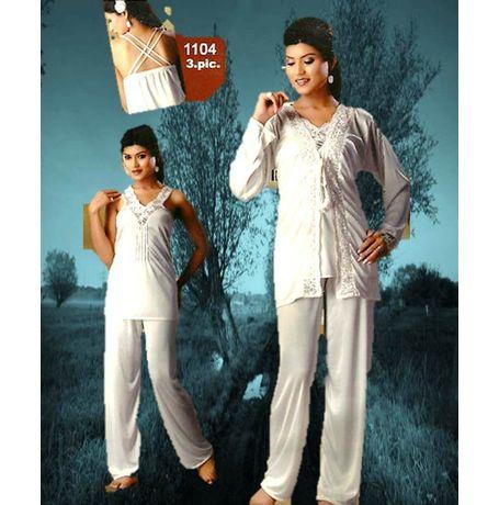 3-Piece Exclusive Full Lace Premium Night Suit - JKNS3P-1104, wine red
