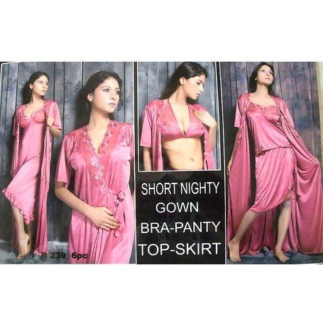 6 Piece Nighty - Short Nighty Gown Bra Panty Skirt Top - JK6P- R 239, purple