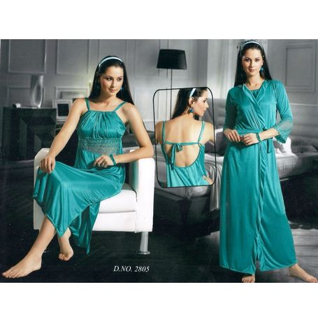 2 piece Love nighty - Exclusive women sleepwear - JKNHNS - 2805, green