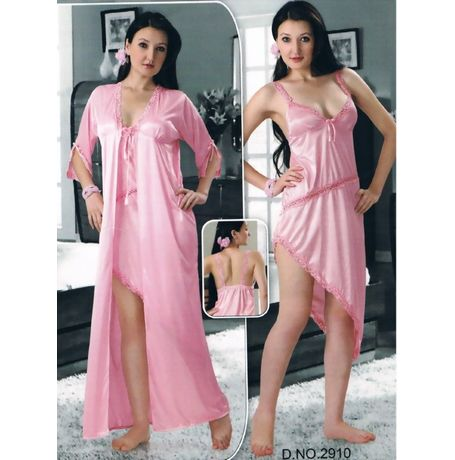 2 Piece Bridal Honeymoon Nighty - JKHNS-2P-2910, babypink
