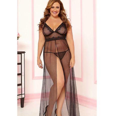 XXL Black Sheer Mesh Gown - JKDLLC6466P, black, free  30-34 bust  30-34 waist  30-34 hips , 1 thong x 1 lingerie