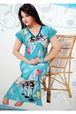 On piece designer nighty - JKNAV-1P-4252, florescent blue, free  30-36 bust  30-34 waist  30-36 hips