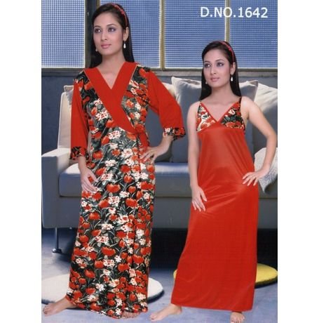 2 Piece Traditional Long Sleeves Indian Nighty - JK2P- 1642, catalog red