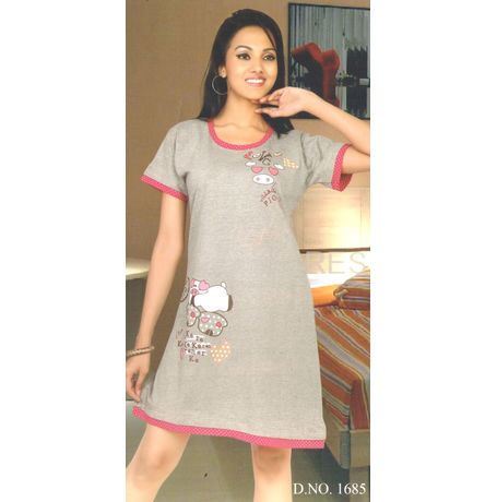 Short Nighty - Knee Length Hi Style Nighty - JKNIGHTY1685, pink color with grey border