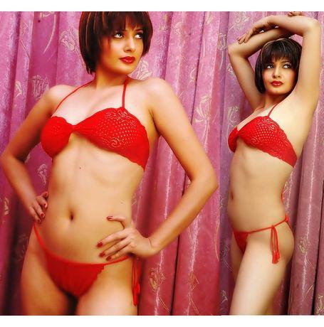 Full Transparent Tie up Bra Panty set - JKLOVSET - SA101, free size - 28 to 34 - any color