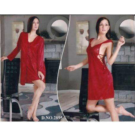 2 piece Romantic short nighty - women sleepwear - JKNHNS - 2895, pink