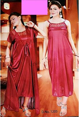 2 piece nighty with transparent lace front - JKSETH-2P-1205, babypink, free size  32-36  inch, nighty with overcoat gown