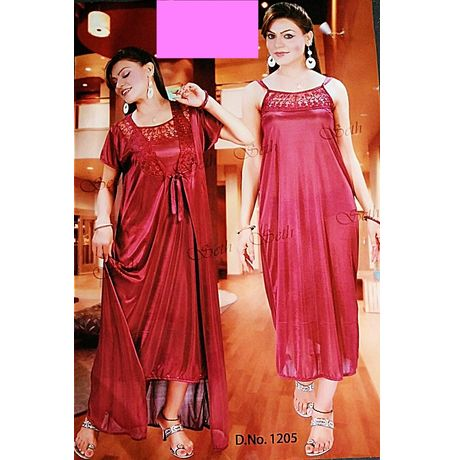 2 piece nighty with transparent lace front - JKSETH-2P-1205, red, free size  32-36  inch, nighty with overcoat gown