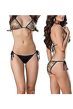 Metallic Shine String Bikini - Flexible Sexy - JKSHINEBIKINI, glistering shine scales gold black