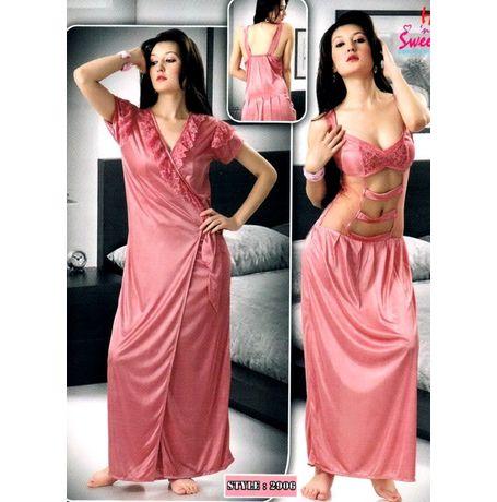 2 piece front transparent nighty - JKHNS-2P- 2906, catalog pink color