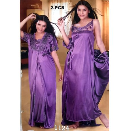2 piece premium lace nighty - JK- 2P - 1124, purple