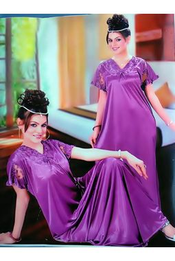 One piece satin nighty - JKDEL-1P-NONUM, purple