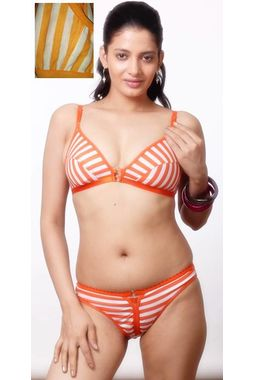 Sagarika Bra Panty Set, 32, orange white