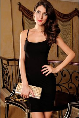 Spaghetti Straps Fashion Dress - JKDLLC2651, black, free  30-34 bust  30-34 waist  30-34 hips , 1 dress