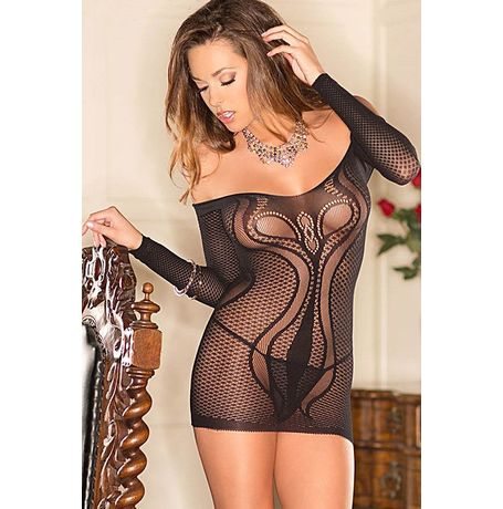 Netted Off-shoulder Mini Lingerie - JKDLLC21752, black, free  30-34 bust  30-34 waist  30-34 hips , 1 piece lingerie  thong not included