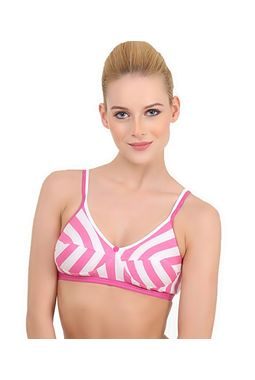 Stripes Double Front Strap Bra - JKNAGBRA - H-LINE, 36-pink