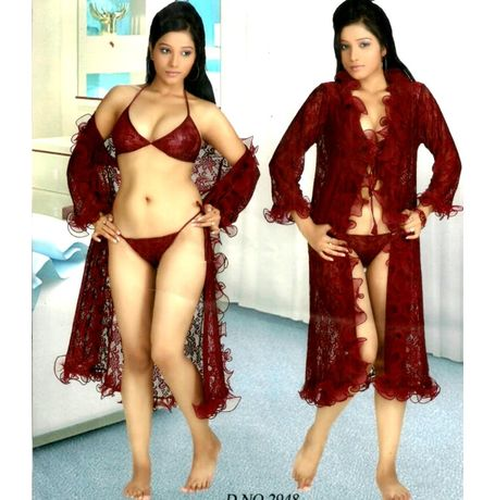 3 Piece Full Transparent Honeymoon Nigthy Collection - JKNightyFullTransparentLong, frills-red-2948