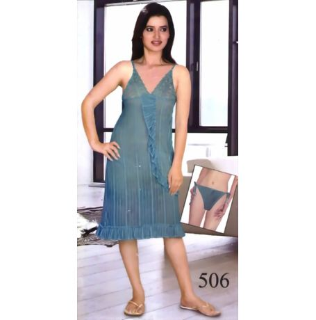 Full Transparent Babydoll Nighty - 506, turquoise