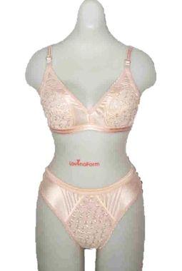 Full Transparent Front Bra Panty Set - JKLOVSET-VANI, 34b, skin