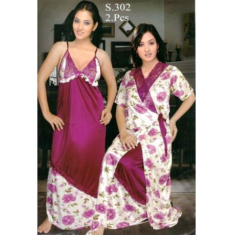 2 Piece Exclusive Premium Nighty - Blooming flowers - JK2P-S- 302, purple white