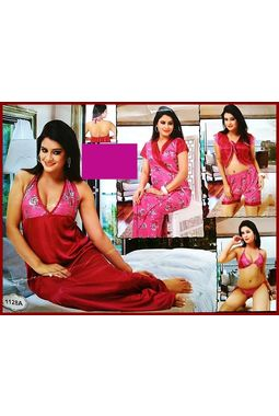 6 piece nighty (premium) nikker nighty honeymoon valentine true love - JKSETH6P - 1128, magenta, free size  32-36  inch, 6 piece lovely nighty set