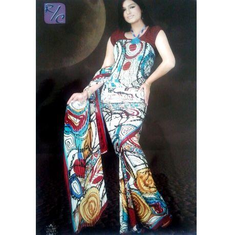 Saree - Designer Faux Chiffon Multi color Spirals - JKSAREERC101