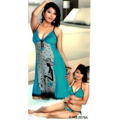 3-Piece Honeymoon Nighty - Royal Green Hoisery soft with lace - JK3PHOT- 2076A