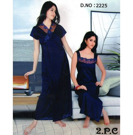 2 Piece Traditional Indian Nighty - JK2P- 2225, catalog navy blue