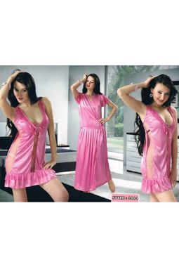 2 Piece Bridal Nighty - JKHNS - 2904, wine red love color