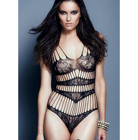 Vertical Shred Microfiber Teddy Lingerie - JKDLLC3197, black, free  30-34 bust  30-34 waist  30-34 hips