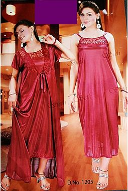 2 piece nighty with transparent lace front - JKSETH-2P-1205, purple, free size  32-36  inch, nighty with overcoat gown