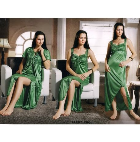 2 piece Romantic Exclusive nighty - women sleepwear - JKNHNS - 2804, catalog green
