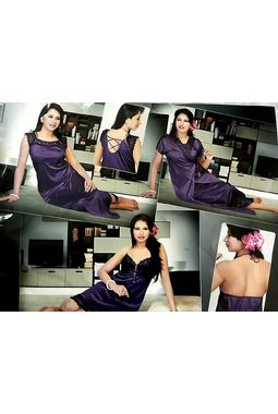 4 piece Bridal Nighty - JKHNS - 4P - 8040, purple