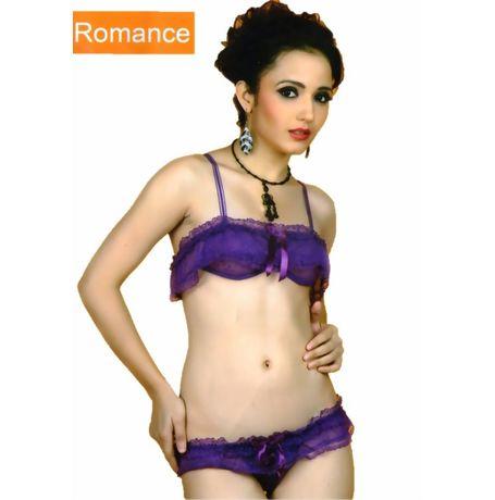 Full Transparent Essential Cover bra panty set - JKFancyBraPantySet- 1531 B, purple