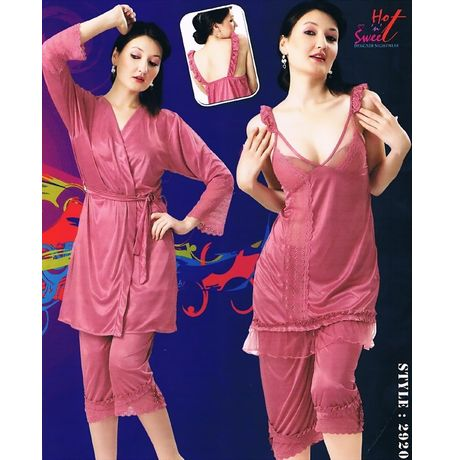 3 Piece bridal nightwear - JkHNS- 2920, wine red