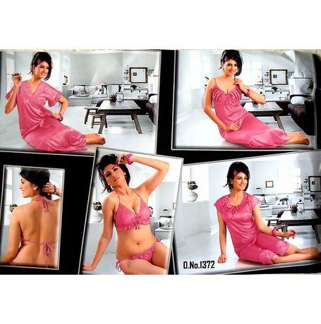 6 Piece Nighty - Bridal Honeymoon Nighty - JK6P - 1372, pink