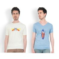 DUSG Fashion Pack of 2 Combo Men's White and Blue Round Neck T-Shirt, xl
