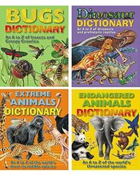 A To Z Dictionary Of Extreme Animals, Dinosaur, Endangered Animals, Bugs (Set Of 4)