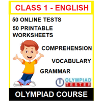 Class 1 English Olympiad Course with 50 Online tests and 50 Printable Worksheets